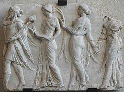 Dionysus leading the Horae (Neo-Attic Roman relief, 1st century)